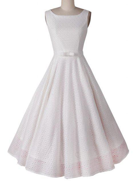 outfit Polka Dot Ball Gown Sleeveless Dress - WHITE M Mobile
