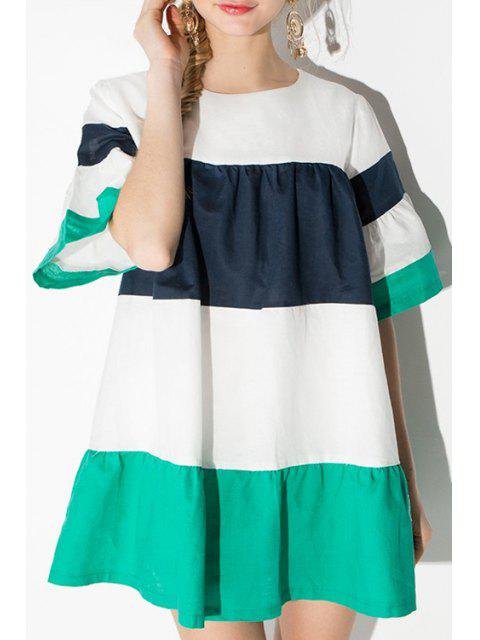 online Puff Sleeve Color Block Striped Dress -   Mobile