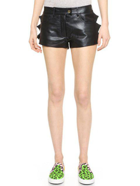 shop Black PU Leather Straight Leg Shorts - BLACK M Mobile