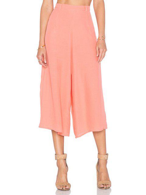 womens Pink Wide Leg Capri Pants - PINK 2XL Mobile