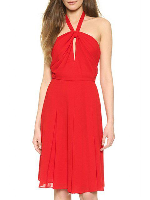 women Halter Neck Hollow Out Red Sundress - RED L Mobile