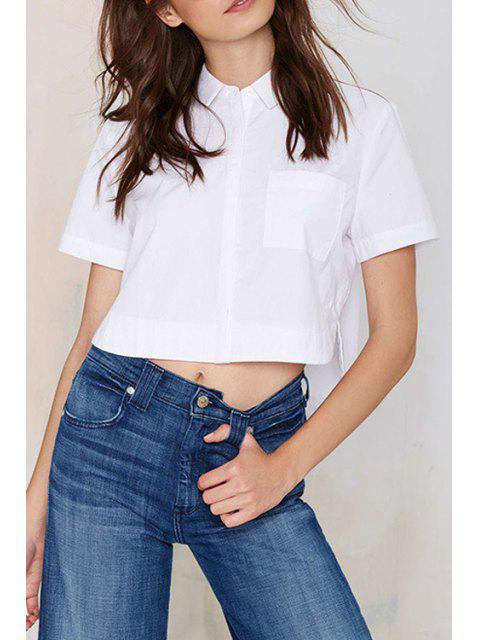 hot White Turn Down Collar Short Sleeve Crop Top - WHITE XL Mobile