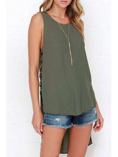 ladies Hollow Pure Color Scoop Neck Tank Top - OLIVE GREEN XL Mobile