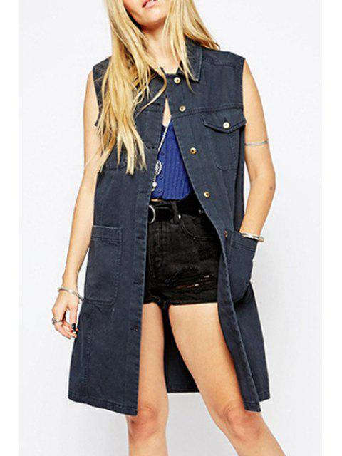womens Denim Turn Down Collar Sleeveless Trench - GRAY L Mobile