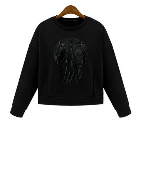 sale Jewel Neck Skull Pattern Long Sleeve Sweatshirt - BLACK S Mobile
