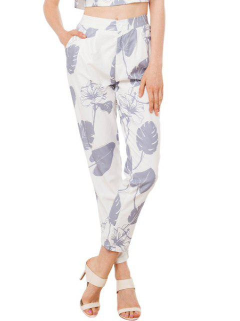 women Leaf Print High Waisted Pants - WHITE S Mobile