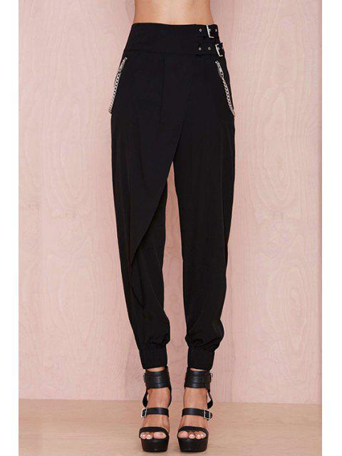 online Black High Waisted Narrow Feet Pants - BLACK S Mobile