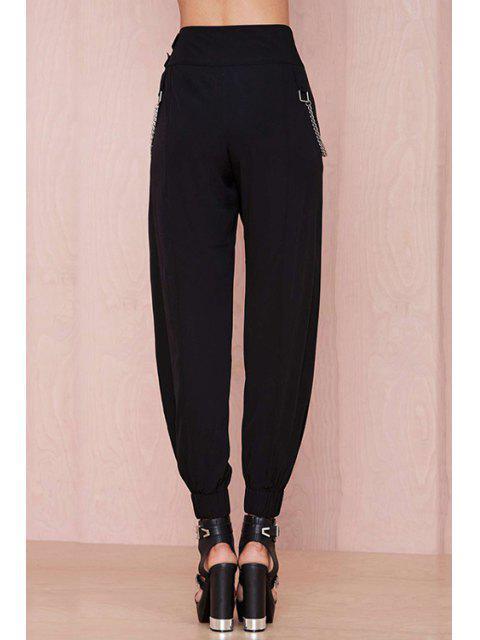 Pantalon aux pieds étroits à haute taille noire - Noir L Mobile