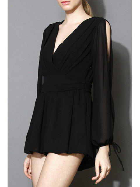 best Solid Color Plunging Neck Long Sleeve Playsuit - BLACK L Mobile