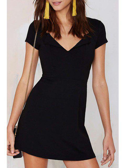 latest Covered Zipper Black Mini Dress - BLACK XL Mobile