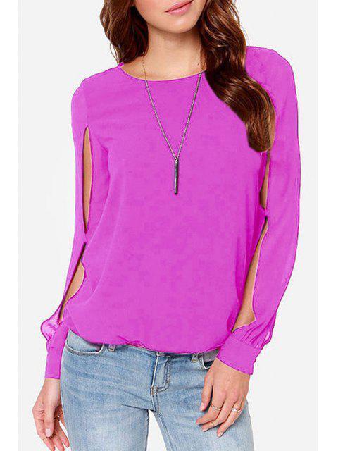 fashion Jewel Neck Solid Color Slit Long Sleeve Shirt - PINK 3XL Mobile