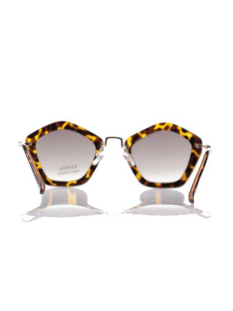 best Leopard Pentagonal Frame Sunglasses - DEEP BROWN  Mobile