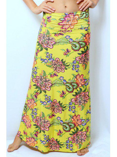 lady Colorful Floral Print Skirt - YELLOW XL Mobile