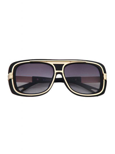 unique Metal Inlay Matte Black Frame Sunglasses -   Mobile