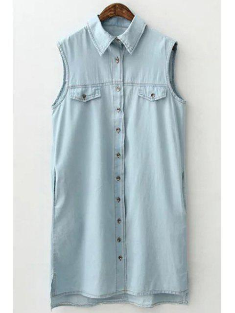 outfits Light Blue Shirt Neck Sleeveless Dress - LIGHT BLUE S Mobile