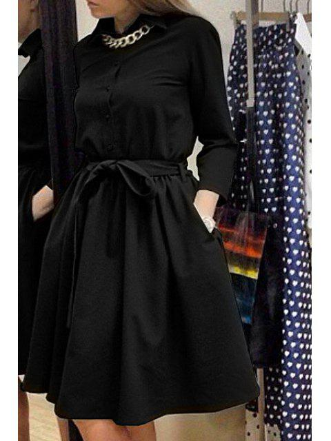 womens Turn-Down Collar Solid Color Belt Dress - BLACK S Mobile
