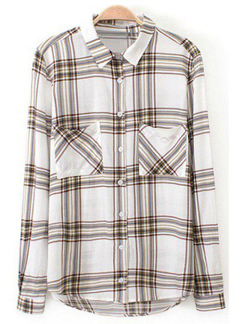 women Plaid Print Turn Down Collar Long Sleeve Shirt - COLORMIX M Mobile