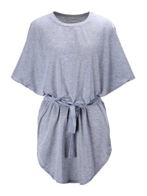 buy Batwing Sleeve Solid Color Loose-Fitting Dress - GRAY L Mobile