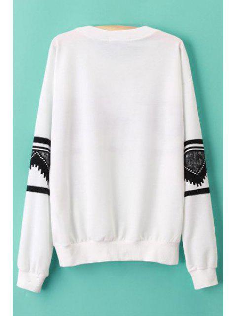 latest Long Sleeve Geometric Print White Sweatshirt -   Mobile