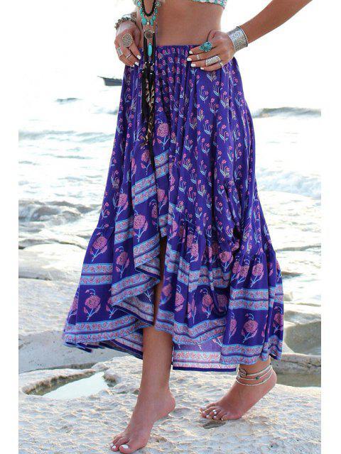 womens Asymmetrical Floral Print Skirt - DEEP PURPLE M Mobile