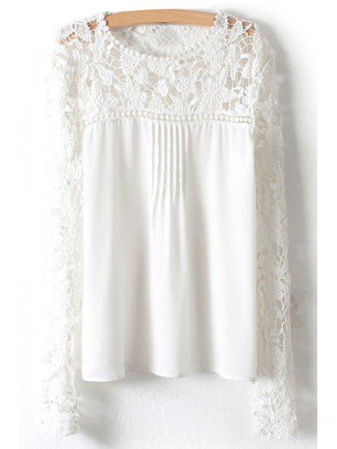 Crochet Flower Splicing Long Sleeves Blouse - Blanc S Mobile