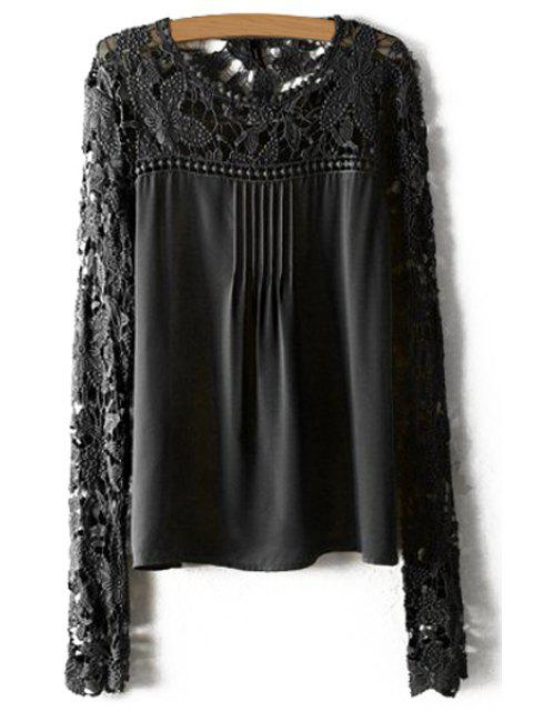 Crochet Flower Splicing Long Sleeves Blouse - Noir M Mobile