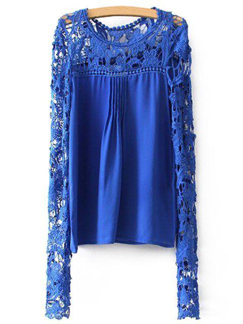 trendy Crochet Flower Splicing Long Sleeves Blouse - BLUE XL Mobile