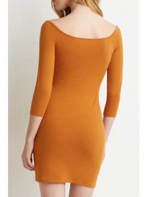 womens Slash Neck Solid Color 3/4 Sleeve Dress - ORANGE XL Mobile