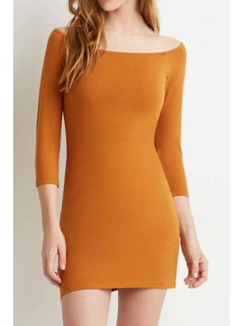 affordable Slash Neck Solid Color 3/4 Sleeve Dress - ORANGE M Mobile