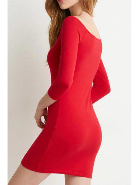 women's Slash Neck Solid Color 3/4 Sleeve Dress - RED M Mobile