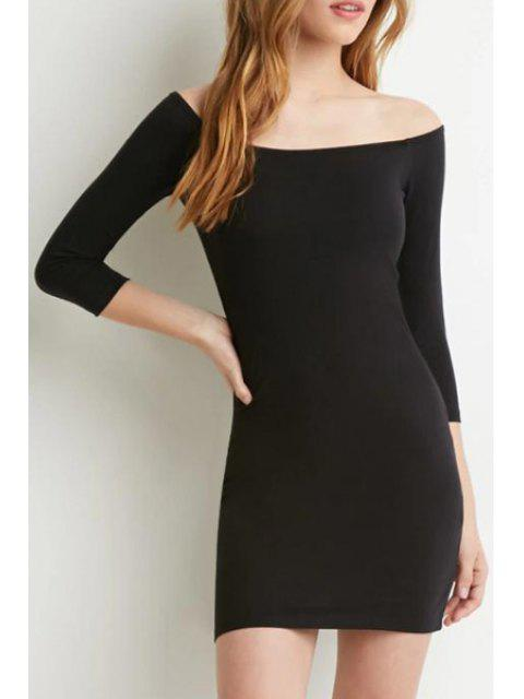 fashion Slash Neck Solid Color 3/4 Sleeve Dress - BLACK S Mobile