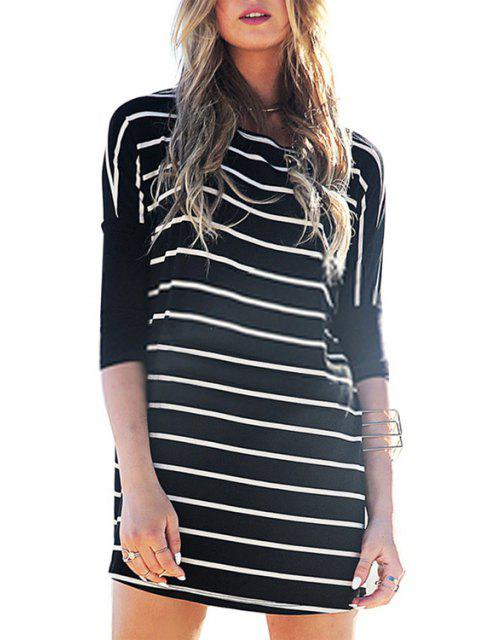 best Half Sleeve Striped Loose-Fitting Dress - BLACK XL Mobile