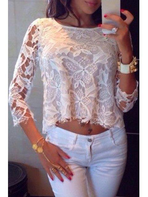 T-shirt à manches 3/4 à motifs floraux transparent - Blanc M Mobile
