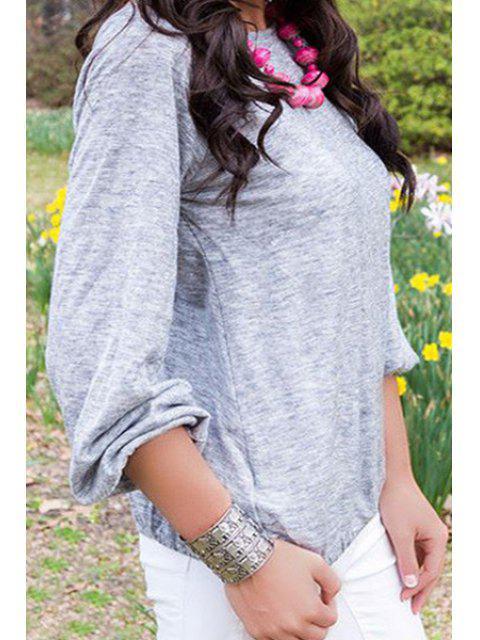 Jewel Neck Cross Backless T-Shirt - gris M Mobile