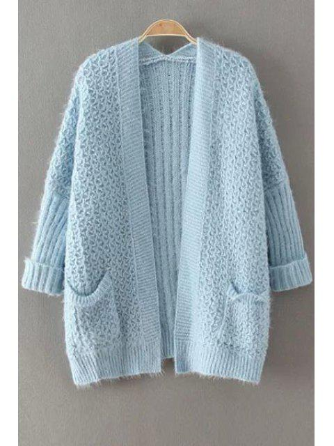 fancy Collarless Solid Color Pocket Cardigan - BLUE ONE SIZE(FIT SIZE XS TO M) Mobile