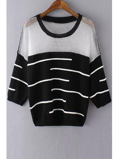 buy See-Through White Black Stripe Long Sleeve Sweater - BLACK ONE SIZE(FIT SIZE XS TO M) Mobile
