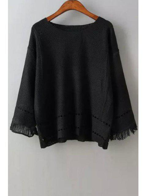 lady Scoop Neck Openwork Fringe Long Sleeve Sweater - BLACK ONE SIZE(FIT SIZE XS TO M) Mobile