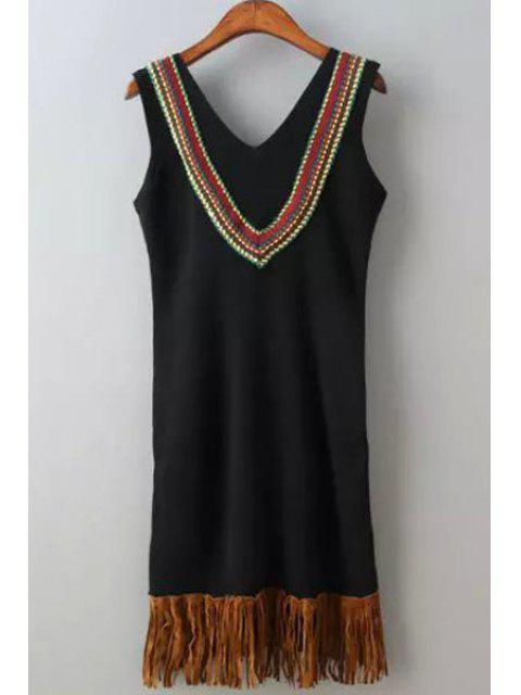 women's V Neck Tassel Splicing Embroidery Sleeveless Dress - BLACK ONE SIZE(FIT SIZE XS TO M) Mobile