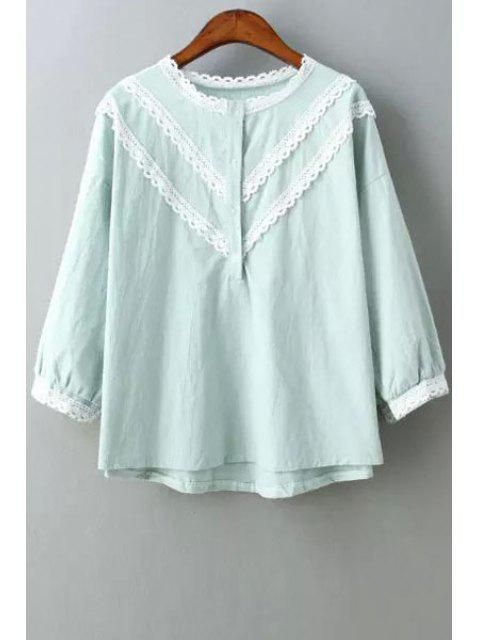 shop Lace Edging Splicing 3/4 Sleeve Shirt - LIGHT BLUE ONE SIZE(FIT SIZE XS TO M) Mobile