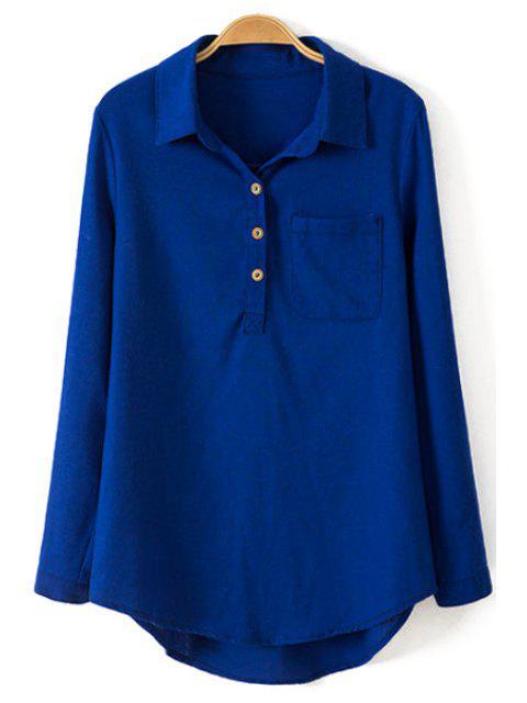 hot Pure Color Linen Long Sleeve Shirt - BLUE L Mobile