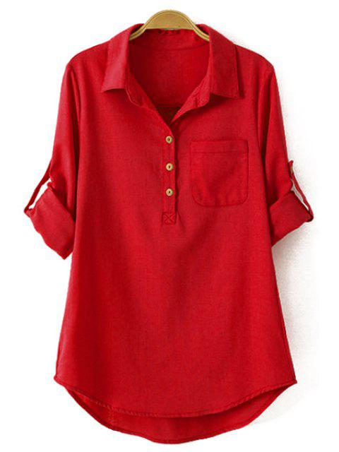 affordable Pure Color Linen Long Sleeve Shirt - RED M Mobile