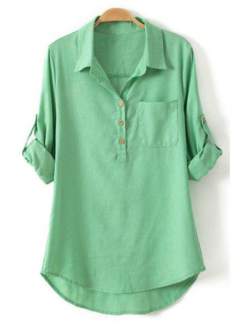 womens Pure Color Linen Long Sleeve Shirt - GREEN S Mobile