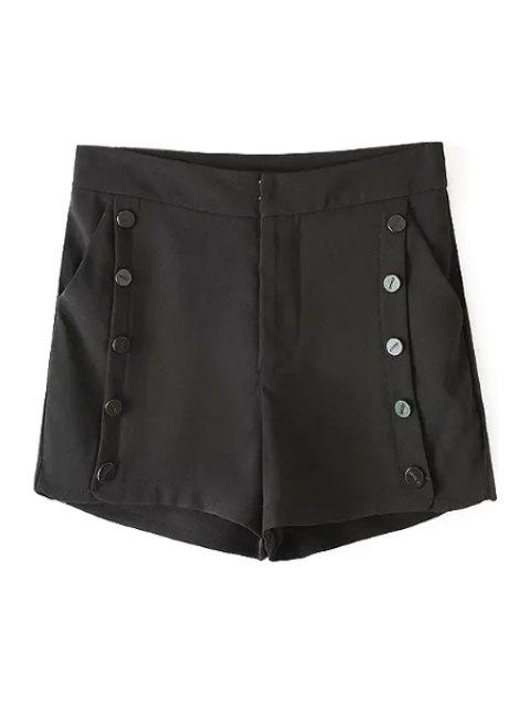 online Solid Color Double-Breasted High Waisted Shorts - BLACK S Mobile