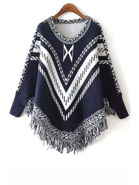 buy Stripe Fringe Splicing Long Sleeve Sweater - PURPLISH BLUE ONE SIZE(FIT SIZE XS TO M) Mobile