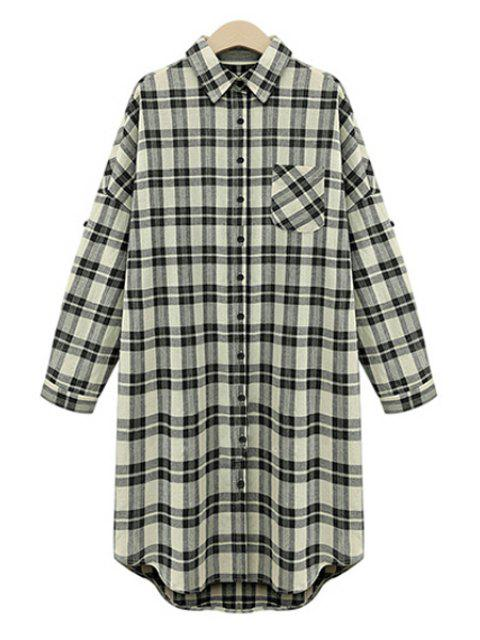 fancy Draped Sleeve Single-Breasted Plaid Midi Dress - WHITE AND BLACK 4XL Mobile