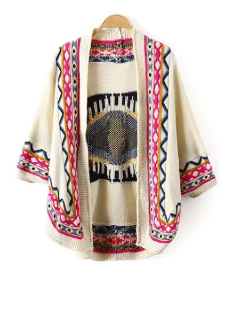 fashion Tribal Pattern 3/4 Sleeve Cardigan - BEIGE M Mobile