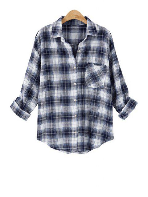 outfit Long Sleeve Plaid Single-Breasted Shirt - BLUE AND WHITE XL Mobile