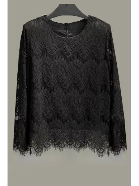women's Lace Solid Color Long Sleeve Blouse - BLACK XL Mobile