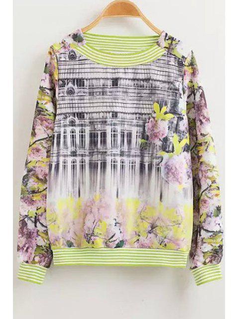 fancy Floral Print Stripe Long Sleeve Sweatshirt - COLORMIX M Mobile