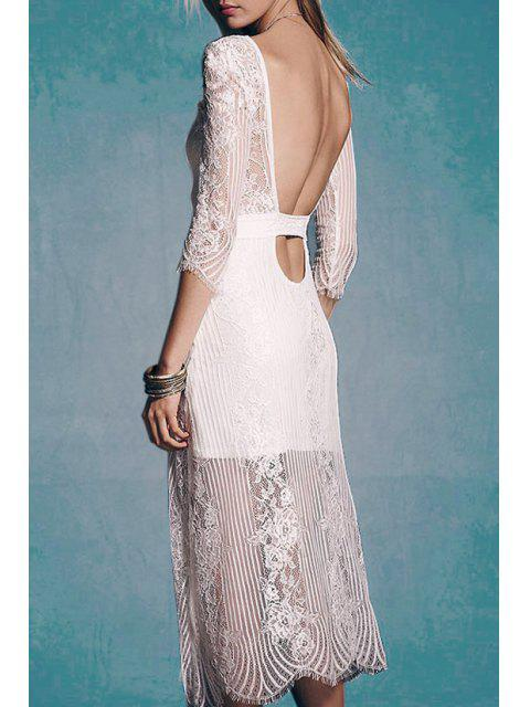 outfit See-Through Lace 3/4 Sleeve Dress - WHITE L Mobile